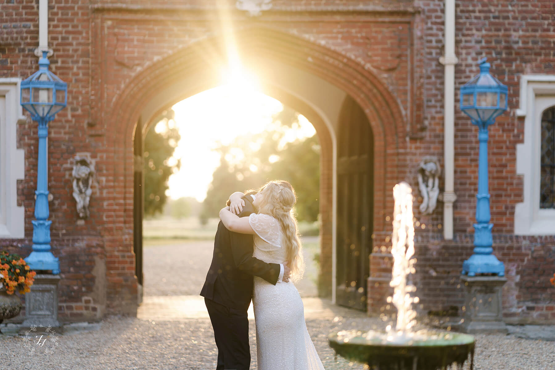 Sunset in the courtyard at Gosfield Hall
