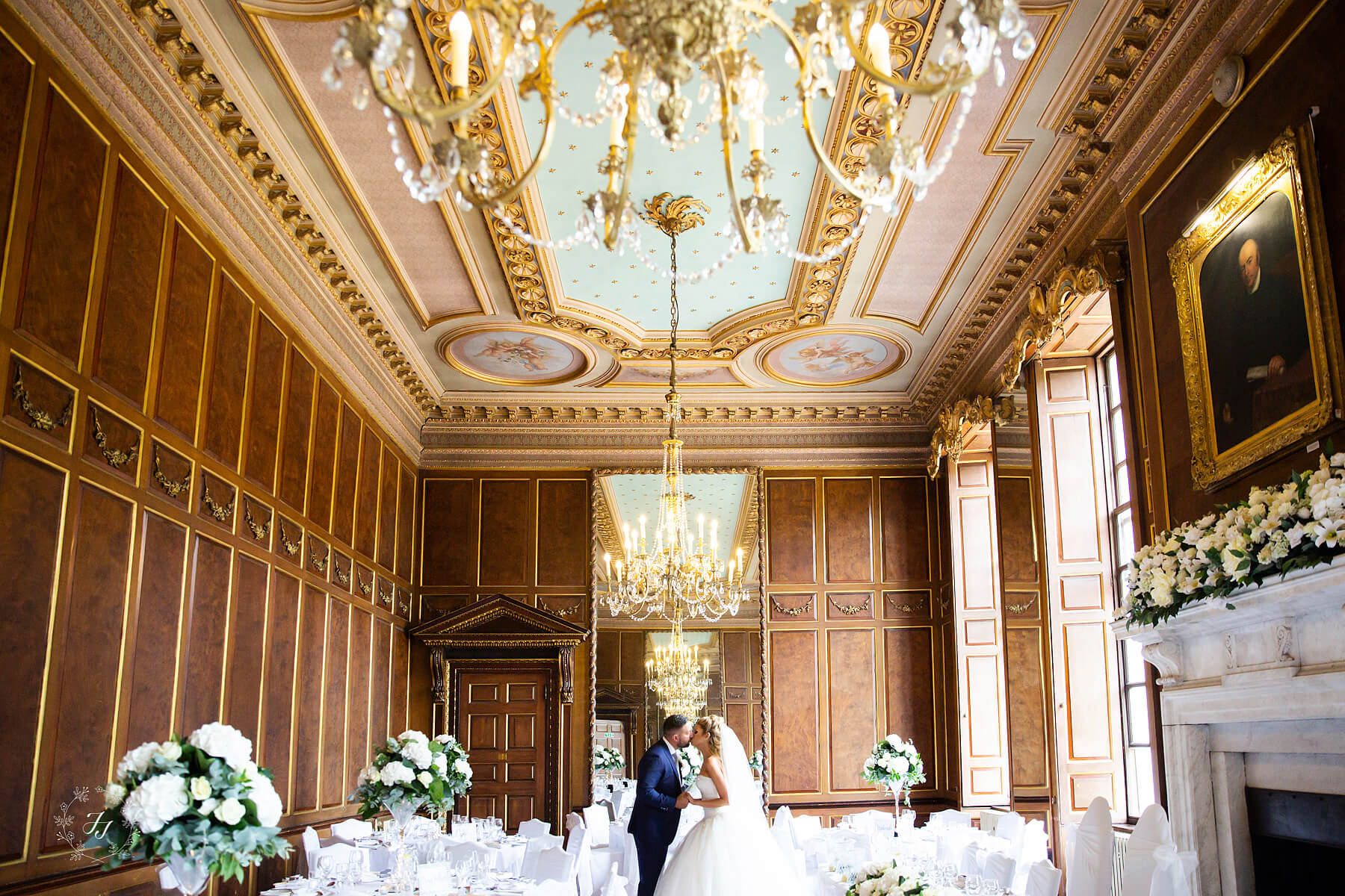 The ballroom at Gosfield Hall with painted ceiling