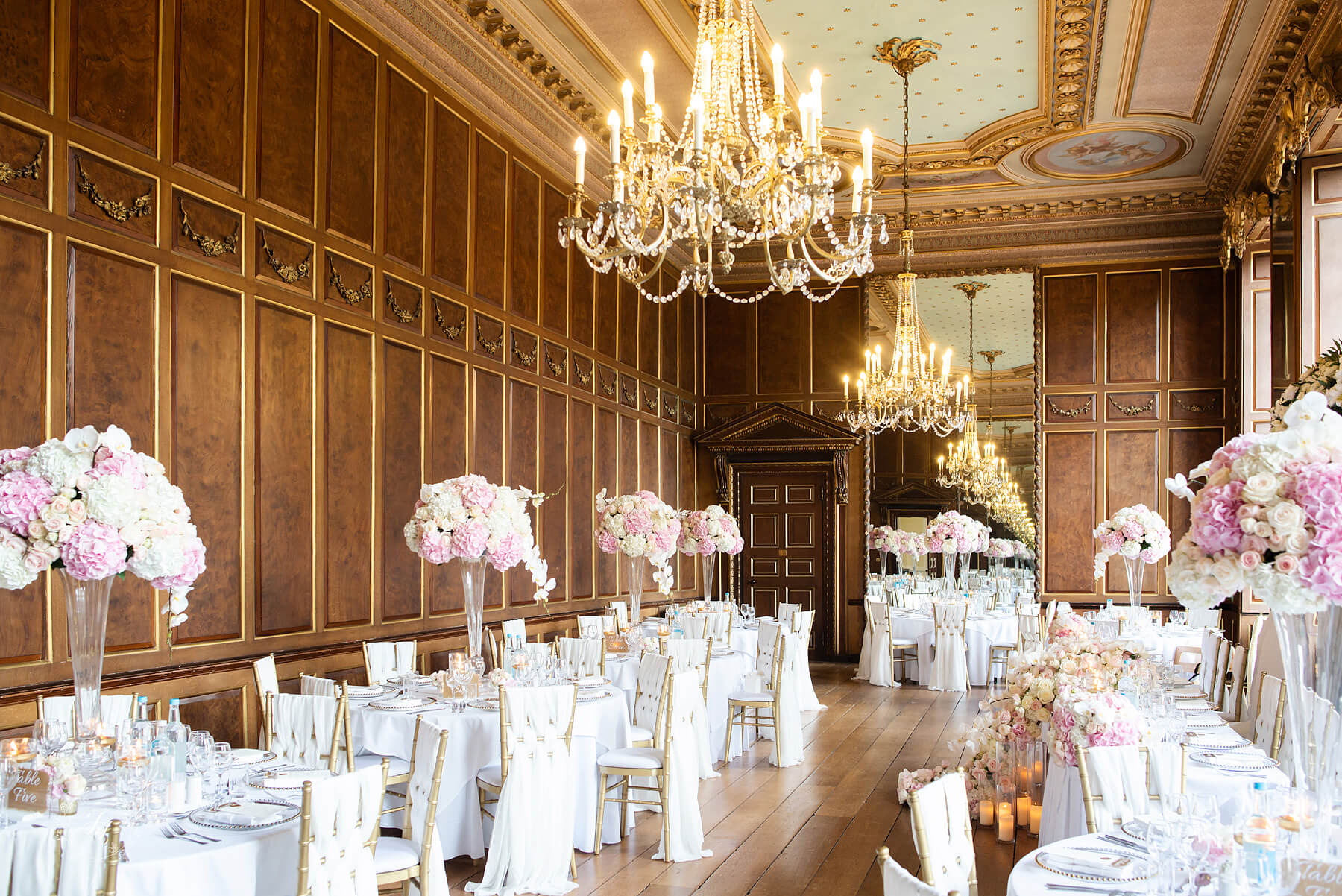 The Ballroom at Gosfield Hall decorated by Jades Florist