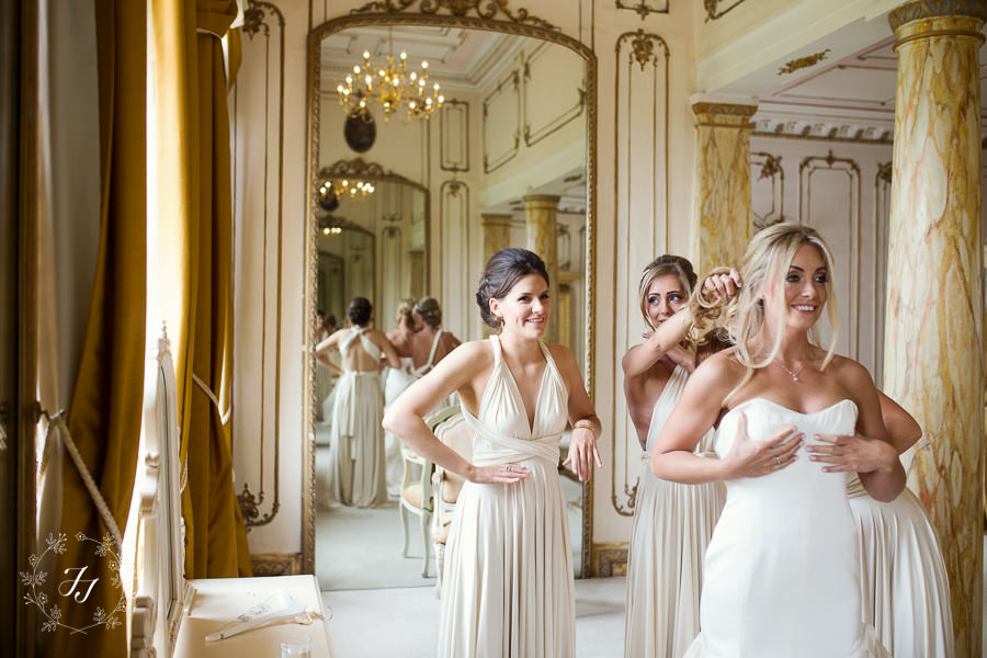 `Davina getting ready in bridal suite