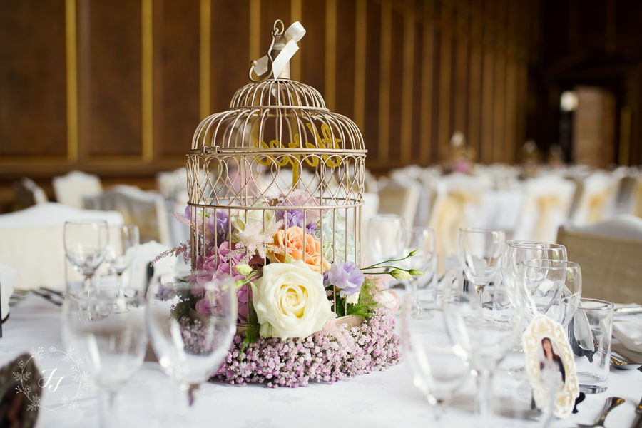 gold birdcage for wedding table