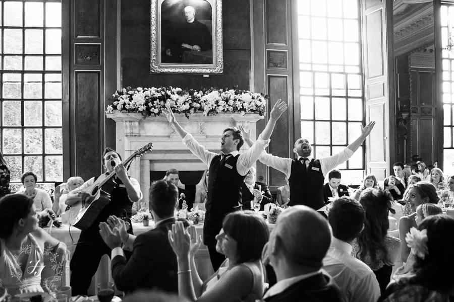 singing waiters at Gosfield Hall