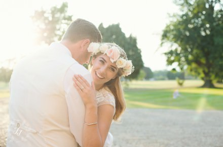 Eloise and Reece Cuddling at Gosfield Hall in the sun