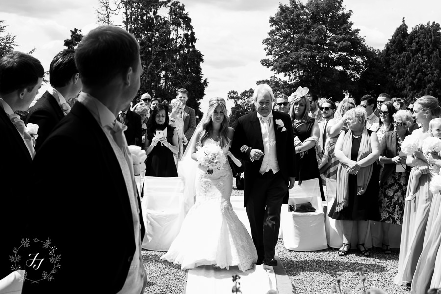 black and white photograph of summer wedding