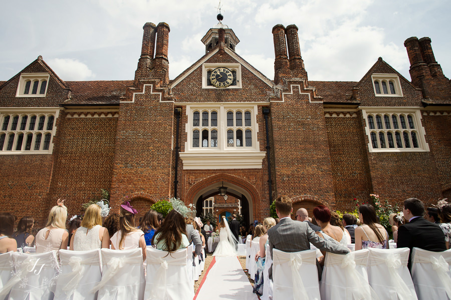 clock tower outdoor ceremony at Gosfield Hall