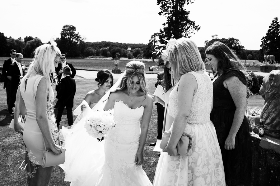 summer wedding on the sun terrace at Gosfield Hall