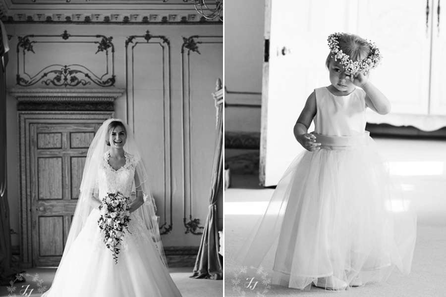 bride and flower girl in bridal suite at Gosfield Hall