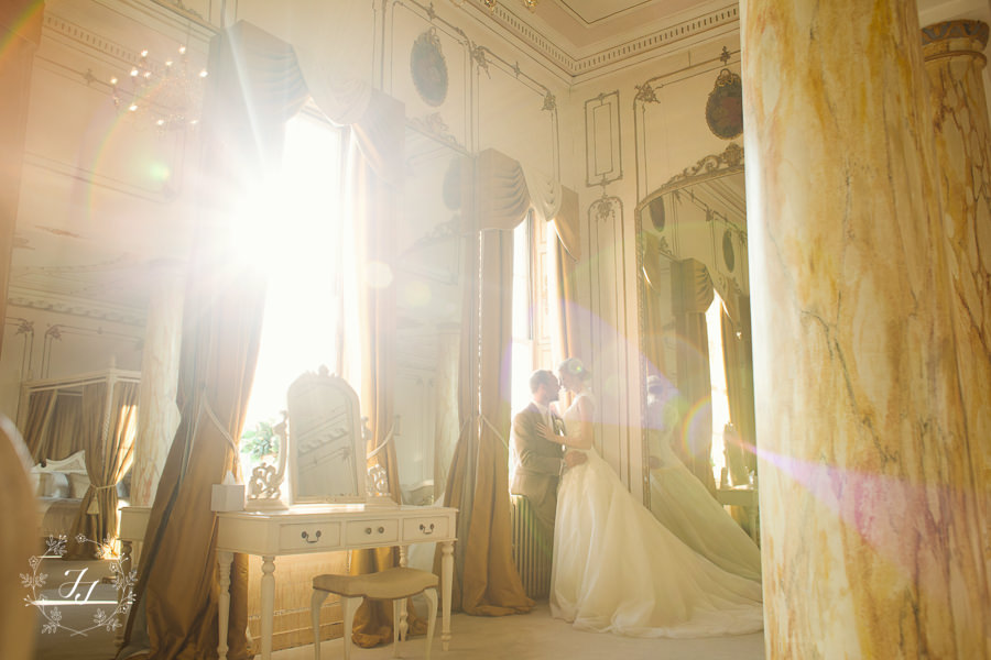 autumn wedding light coming through the windows of the Bridal Suite at Gosfield hall