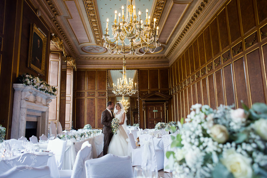 ballroom at Gosfield Hall with autumn florals