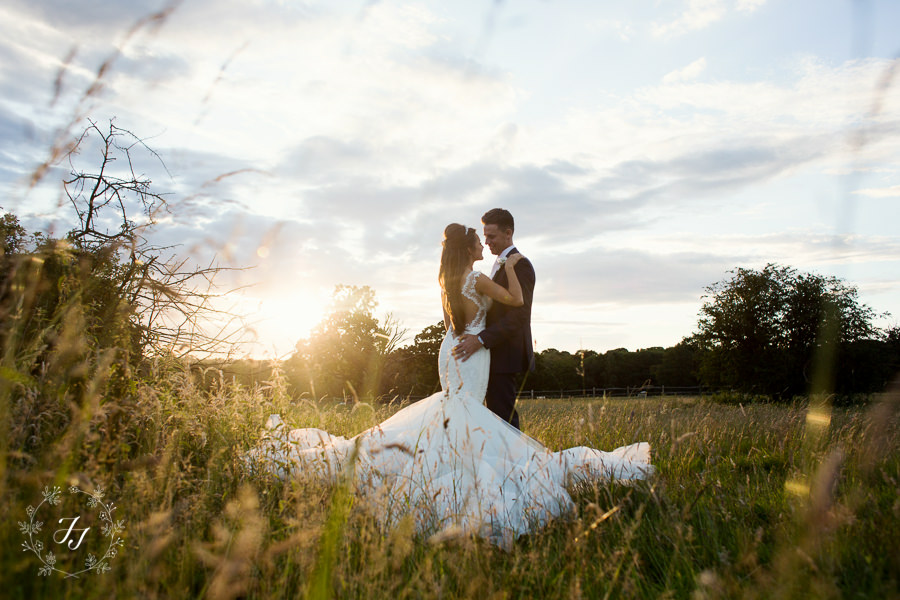 Galia Lahav wedding dress photographed at gaynes park in Epping at sunset