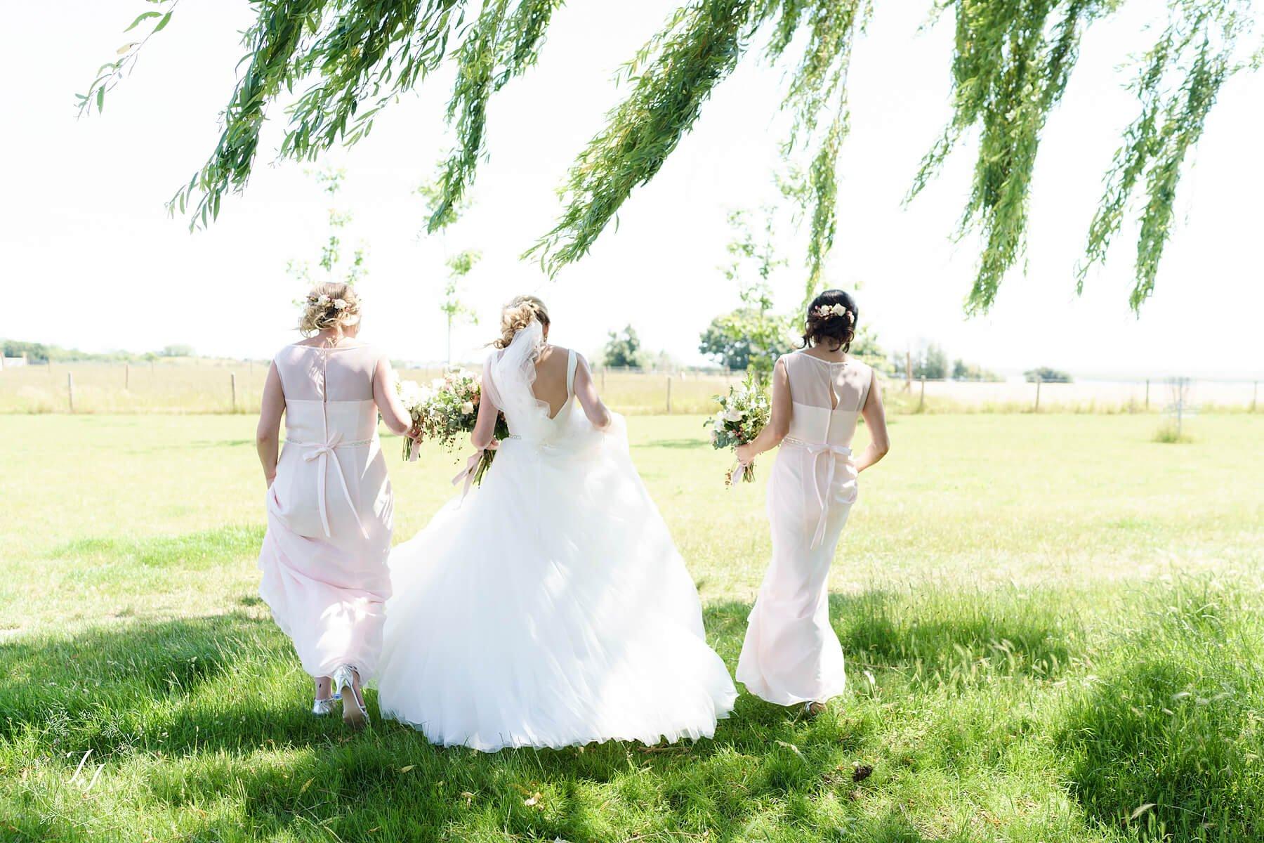 lace back short sleeved long pink bridesmaids dress