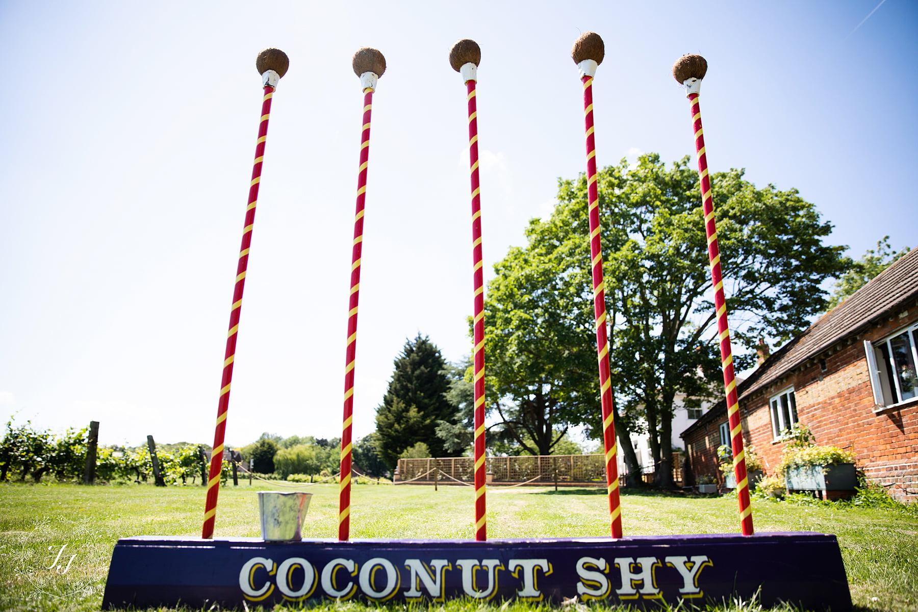 coconut shy at the railway barn Purleigh