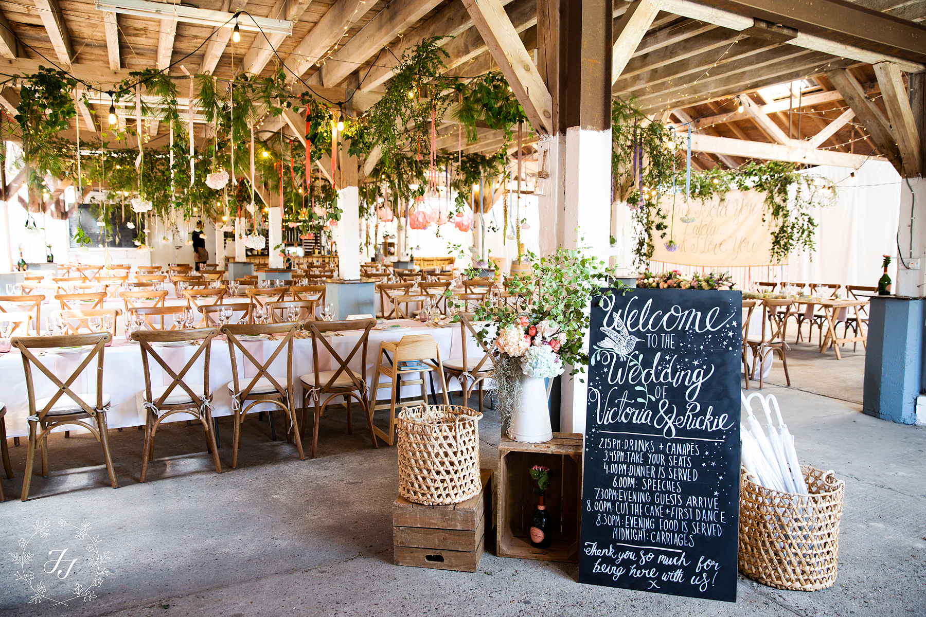 the railway barn wedding photography inside the barn decorated by starry-eyed weddings