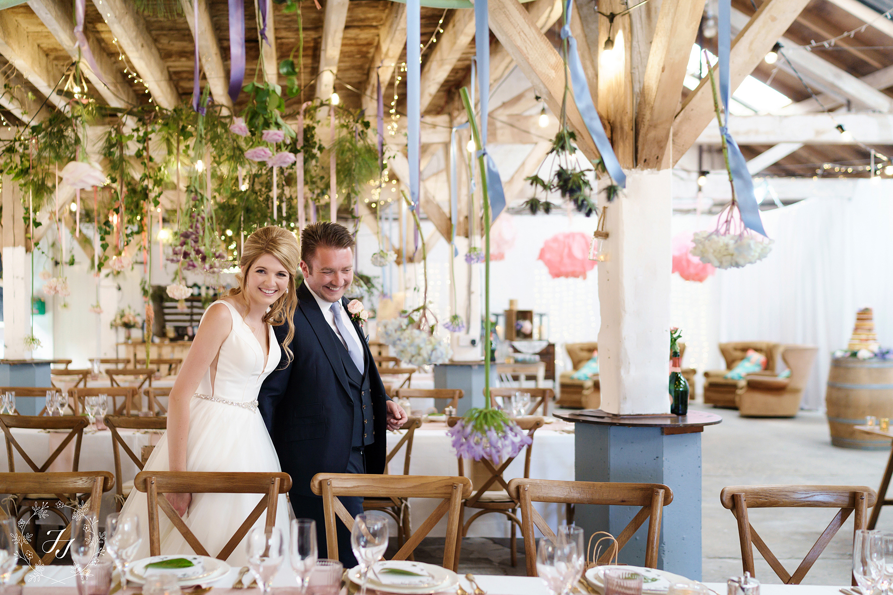 Victoria and Rickie admiring the railway barn in purleighs decorations