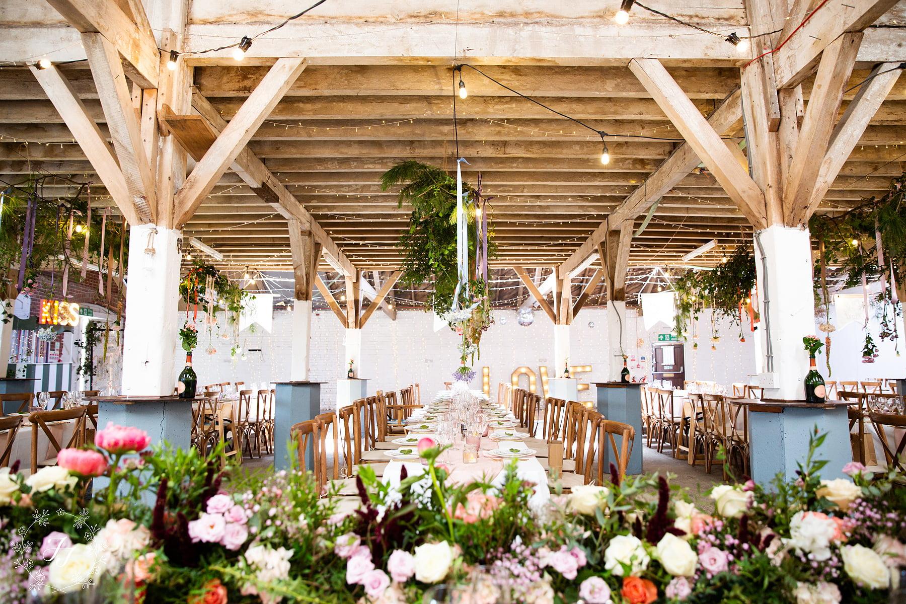 wedding photography at the railway barn, inside setup for a wedding