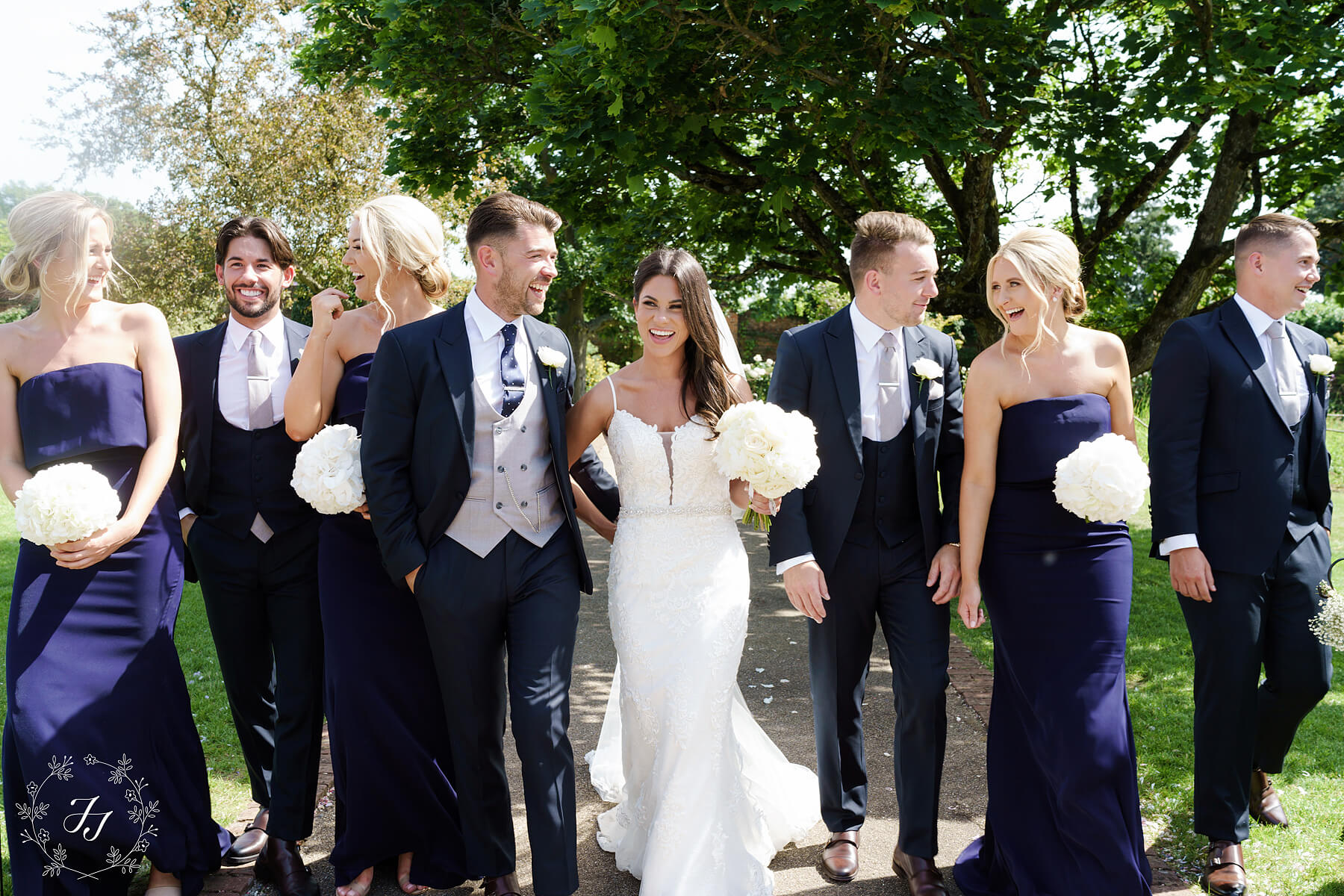 navy blue bridal party Gaynes Park