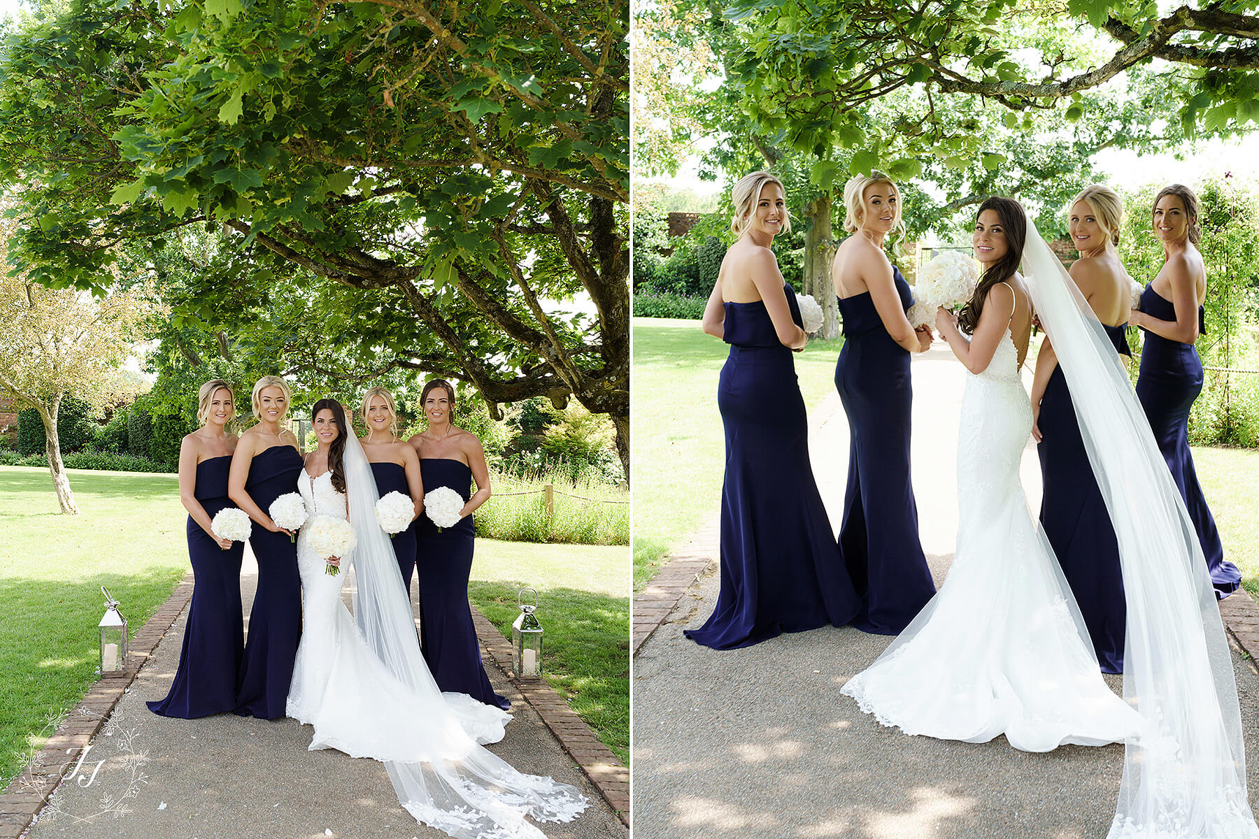 Navy blue bridesmaids at Gaynes Park