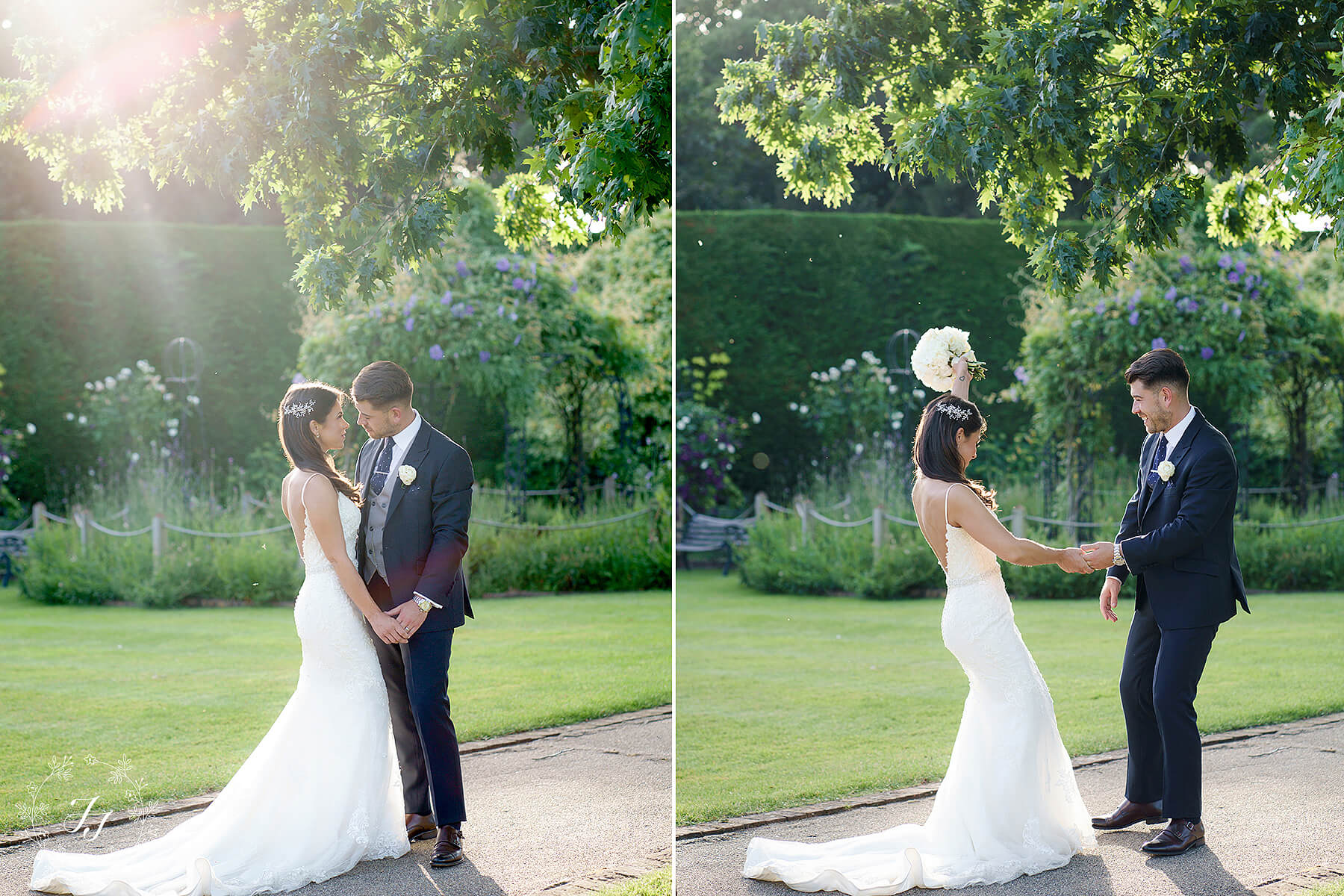 Samantha & Cameron's wedding photograph of them in the walled garden at Gaynes Park