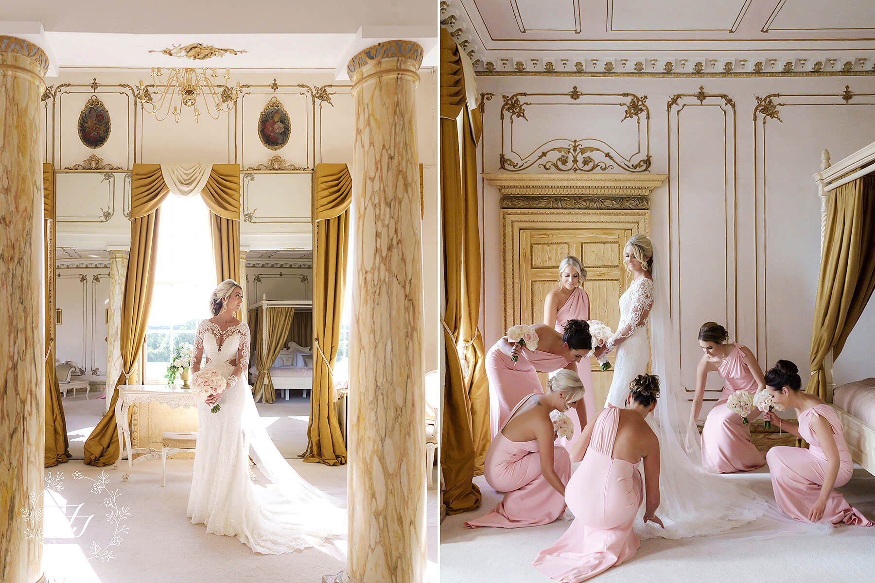 bridesmaids help Megan get ready at Gosfield Hall