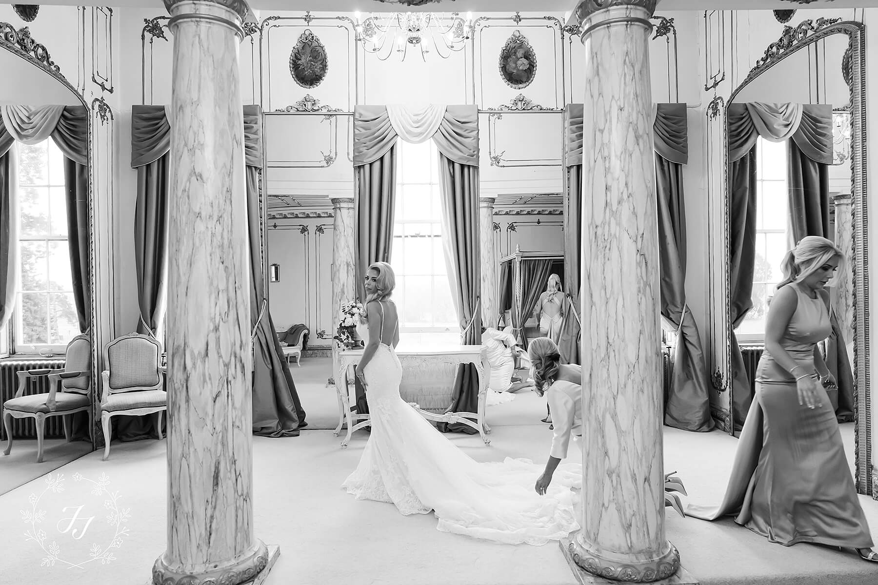 Hollie getting ready for her Christmas wedding at Gosfield Hall in the bridal suite