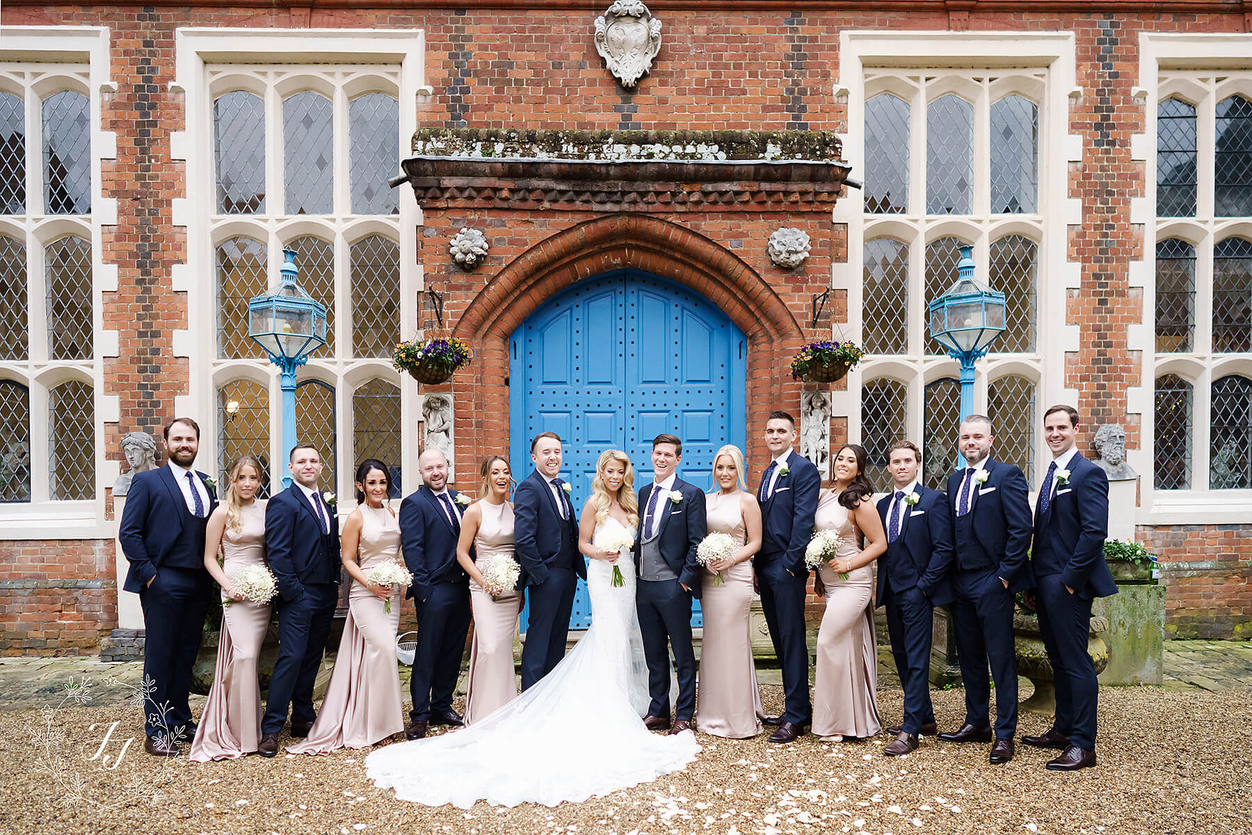 blush pink and navy blue bridal party at Gosfield Hall