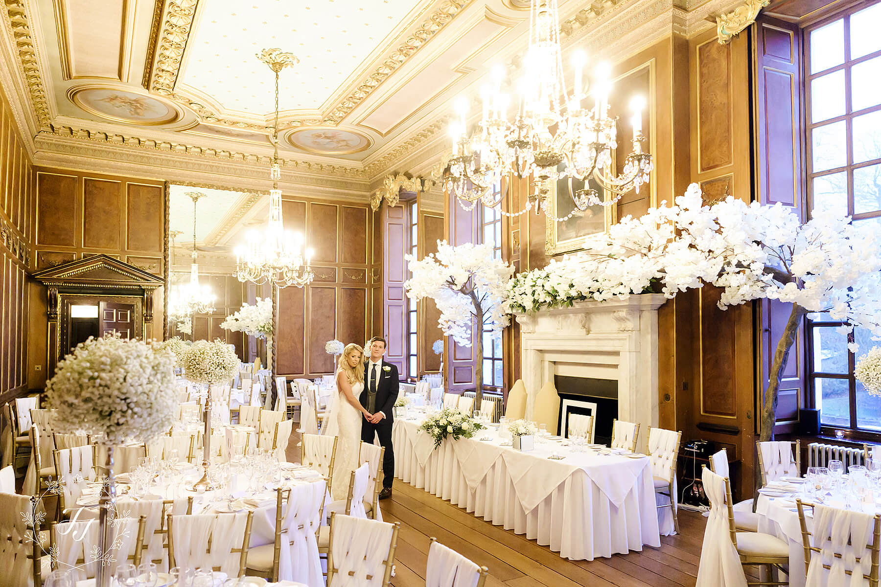 the ballroom at Gosfield Hall decorated by jf styling