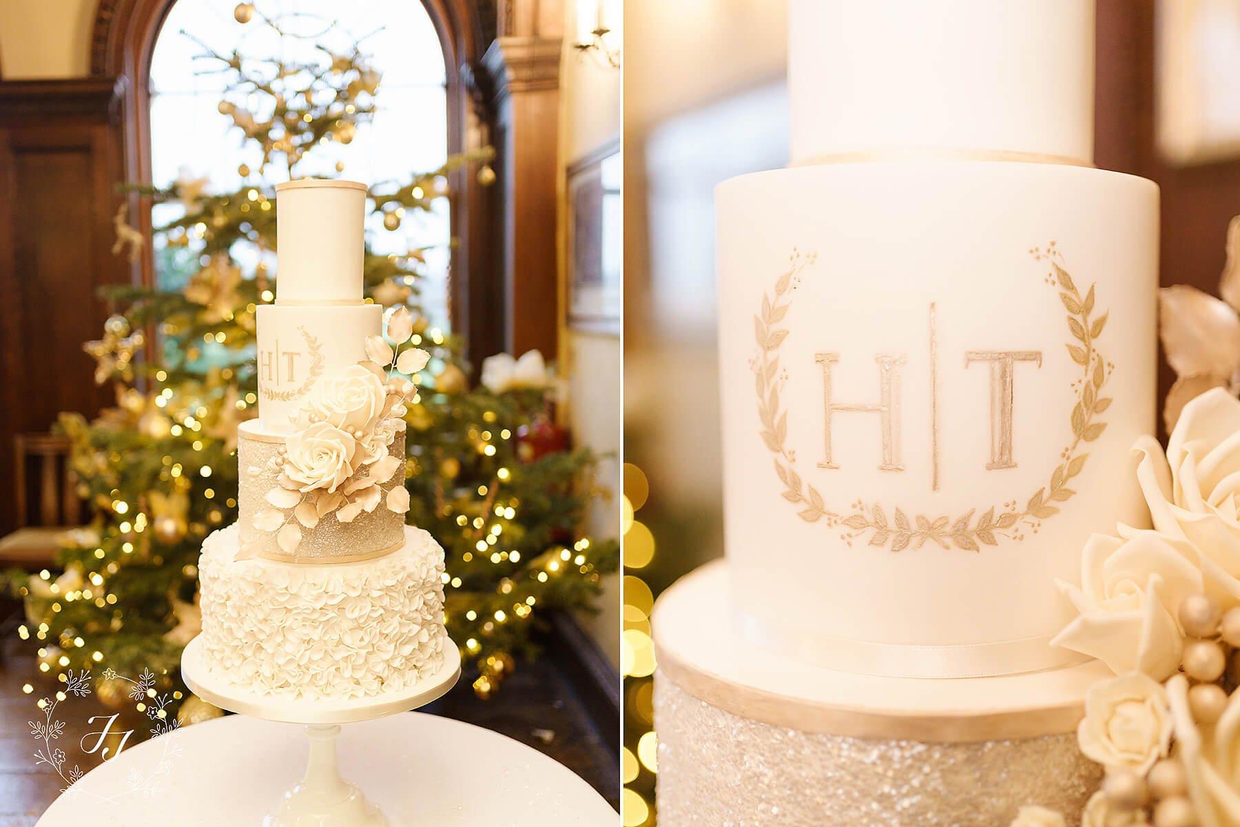wedding cake with Christmas tree behind