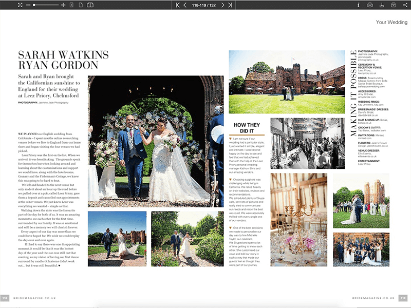 Sarah and Ryan Leez Priory featured in Brides