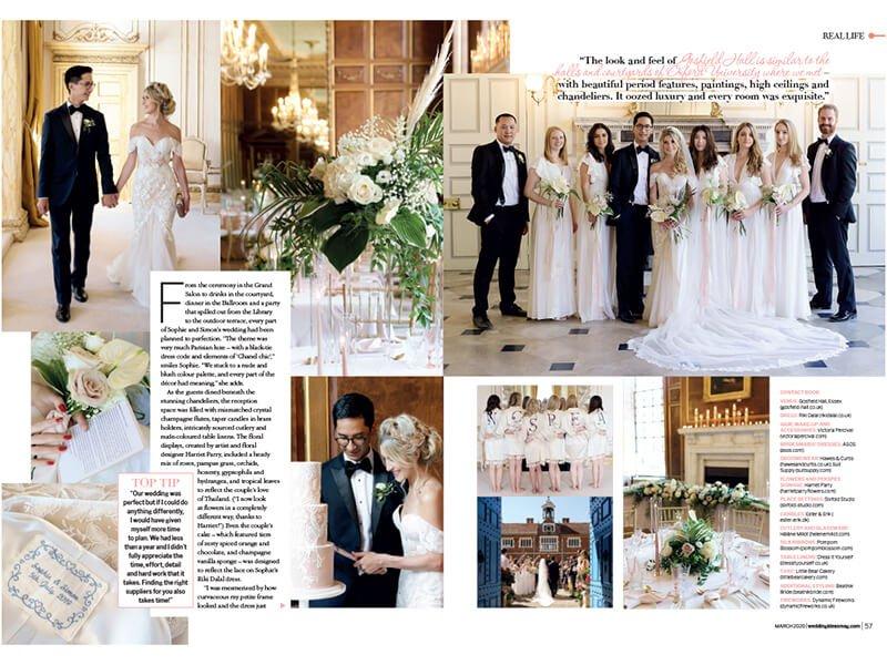 Inside brides magazine for wedding of Sophie simon