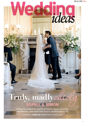 Sophie and simon on the cover of Brides Magazine