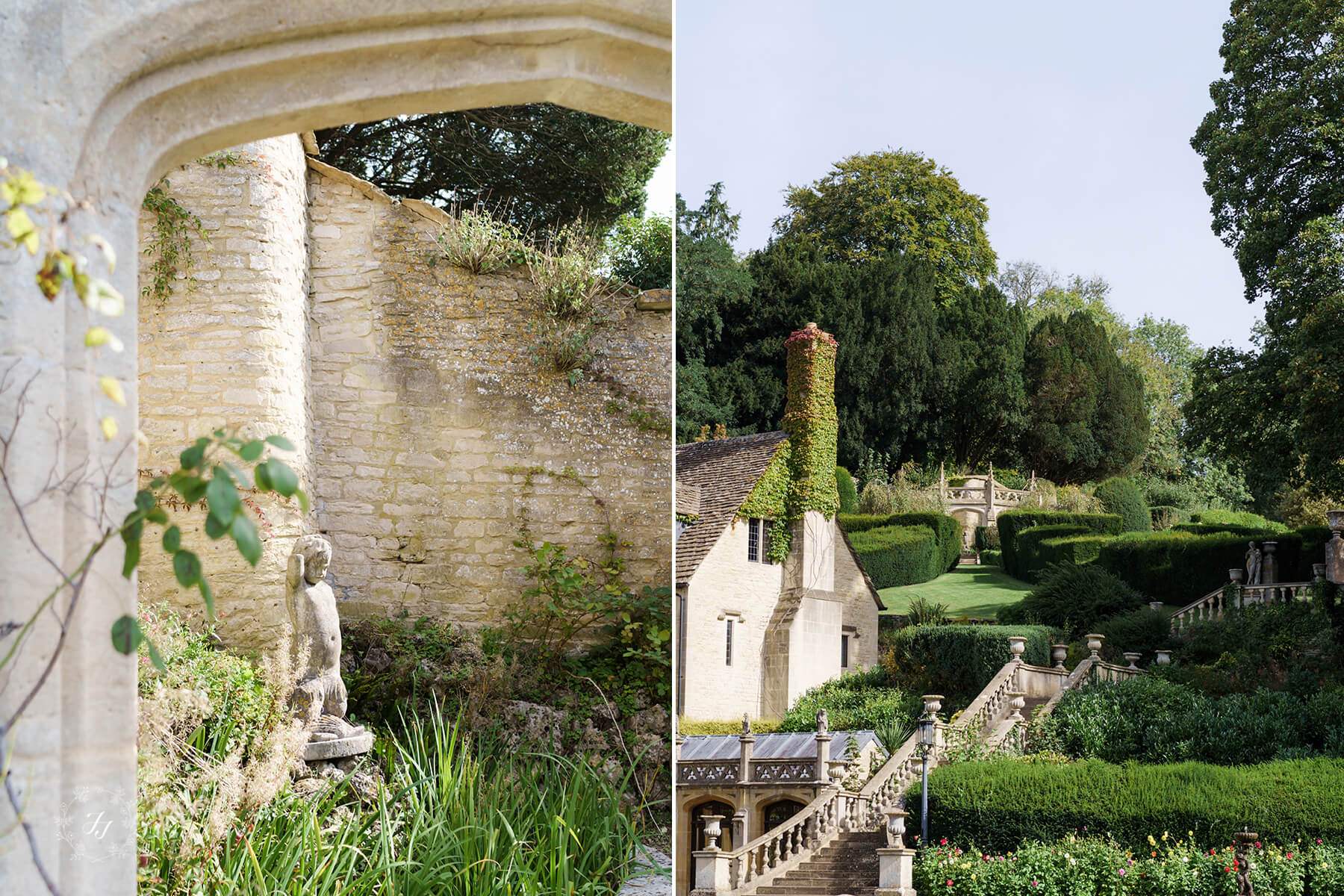 the gardens at Manor House hotel in Castle Combe