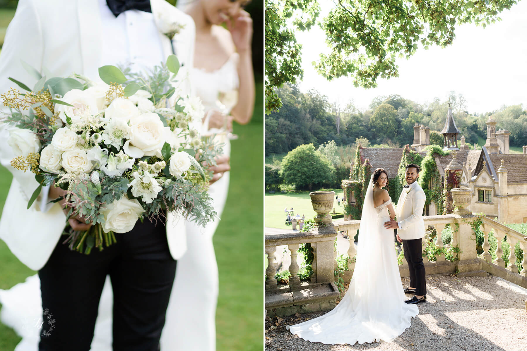 intimate wedding at Castle Combe with white flowers
