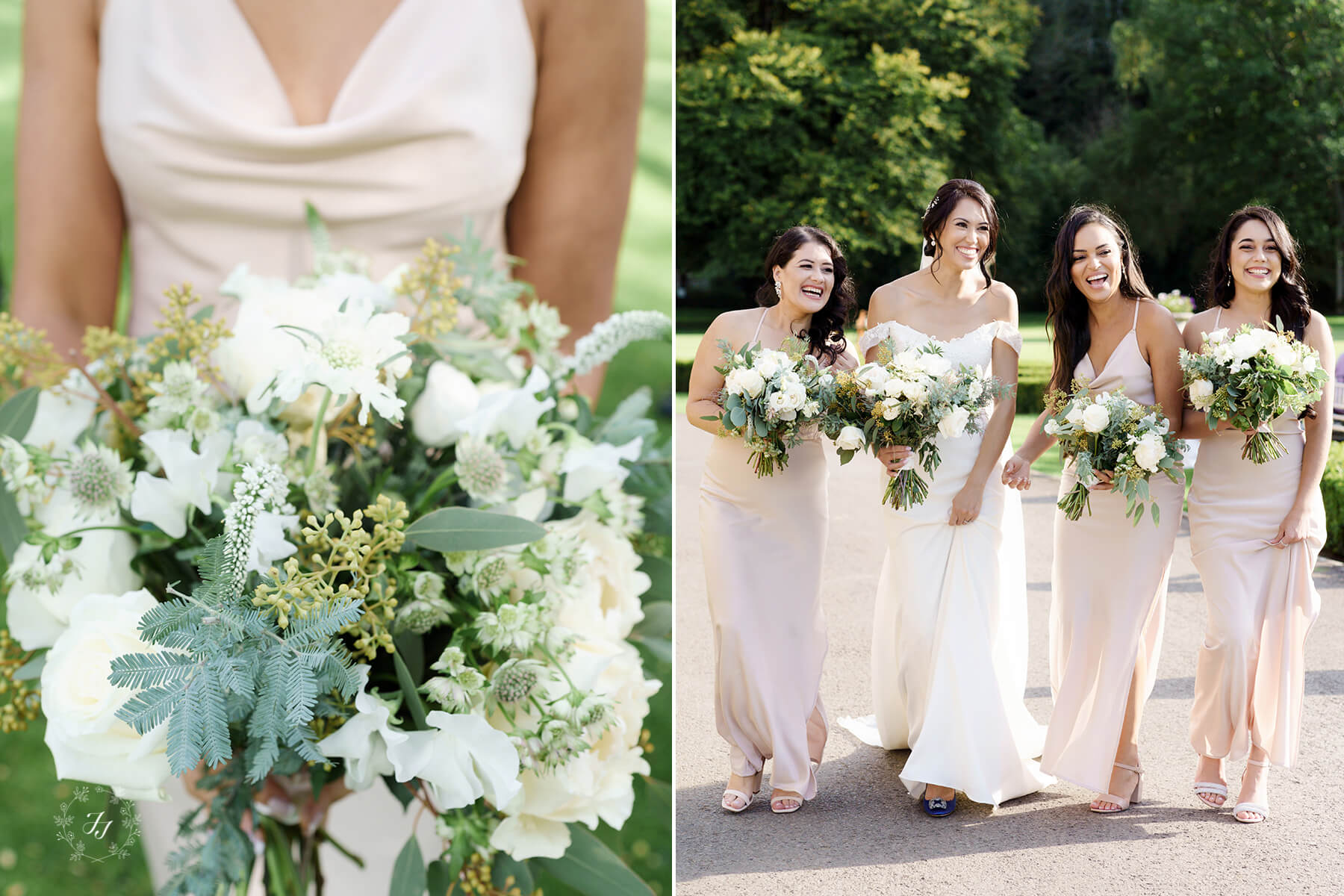blush pink bridesmaids with white flowers