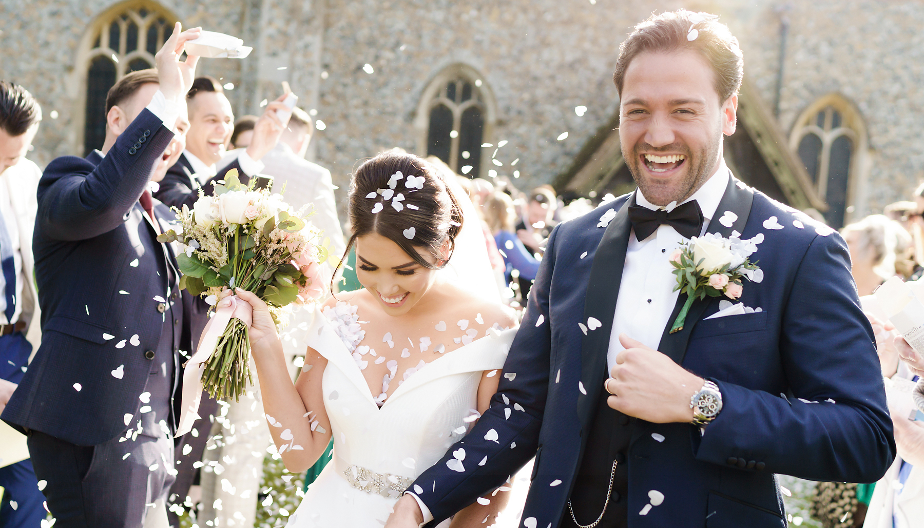 Jordan and Adam's confetti photograph at their wedding at Hatfield Place